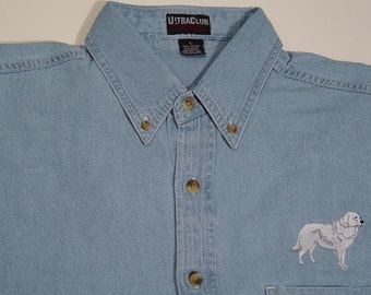 GREAT PYRENEES Dog Embroidered Small to 4XL Long Sleeve Light Blue Denim Shirt - Price Embroidery Apparel