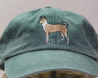 BASENJI DOG HAT - One Embroidered Men Women Cap - Price Embroidery Apparel - 24 Color Caps Available