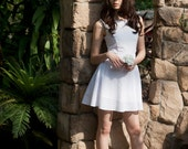 Sale - White Fit and Flare Skater Dress, Casual Wedding Dress  - S