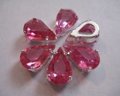 Lot of 6 13x7.8mm Rose Unfoiled Pear Shaped Swarovski Rhinestones in Silvertone Settings