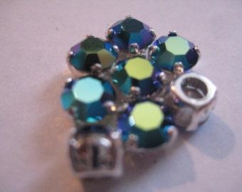 Lot of 6 7mm Emerald  AB  Swarovski Chatons Art. 1100 Rhinestones in Silvertone Sew On settings