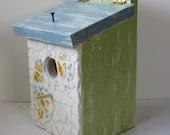 "Vintage Broken China Ceramic Shards ""Springtime Floral"" Dish, Cottage Chic Painted Birdhouse"