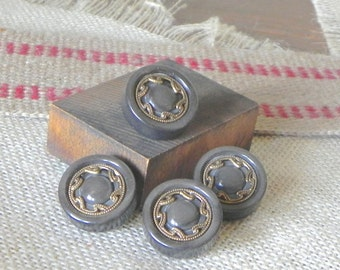 Vintage buttons grey plastic with gold metal details - 4 of them celluloid