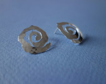 Hammered Silver Spiral Post Earrings