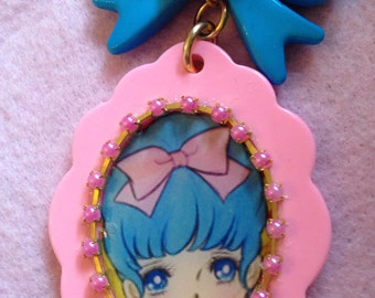 20% OFF Blue Haired Vintage Anime Girl Pink Pendant Plastic Necklace
