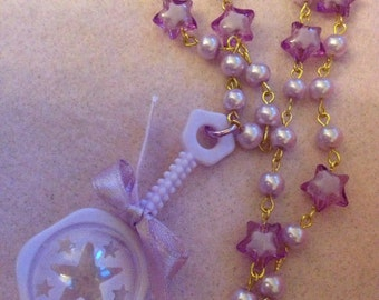 Pastel Purple Tiny Star Rattle Beaded Necklace