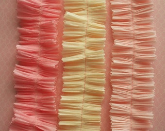 Vintage Crepe Paper Ruffle Sampler - Baby Shower Pink and Cream Crepe Paper Garlands - Romantic Valentine Paper Supplies DIY Love Notes