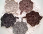 Winter Leaf Crochet Coasters - Hand Crocheted and Felted - Set of 5