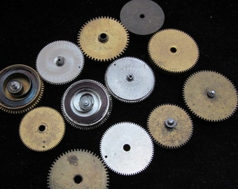 Antique Vintage Clock Watch Parts Cogs Gears Assemblage Steampunk Industrial Art Goodies CG 10