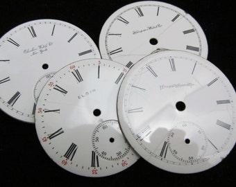 Steampunk Watch Dials Vintage Antique Faces Parts Enamel Porcelain Metal Mixed Media Assemblage  BF 63