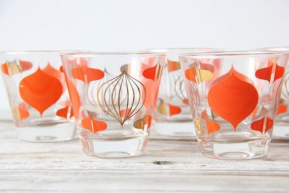 Set of 9 Orange Onion Graphic Cocktail Glasses