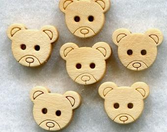 Bear Buttons Natural Wood Wooden Buttons 12 mm (312 inch) Set of 12/BT96