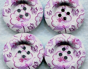 Pink Flowers Buttons Decorated Wooden Buttons  30mm (1 1/4 inch) Set of 4 /BT111
