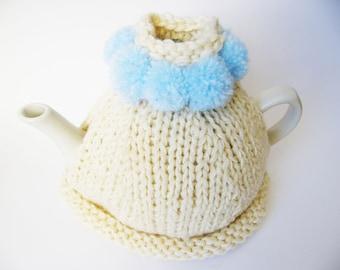 Hand Knitted Tea Cosy, Cream with Light Blue Pom Poms, handmade tea cozy, tea cozy knit, hostess gift, home decoration, cream tea cozy