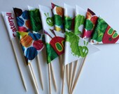 Cupcake Flags / Picks  - 12 Fabric Very Hungry Caterpillar / Grouchy Ladybug