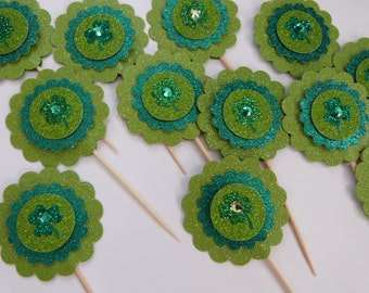 St. Patricks Day Shamrock Cupcake Toppers - 12 Paper glitter Flowers - Cake or Cupcake