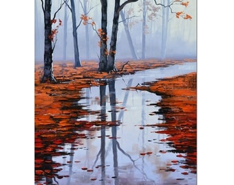 20 x 16 AUTUMN PAINTING vertical landscape red brown leaves misty river wall art
