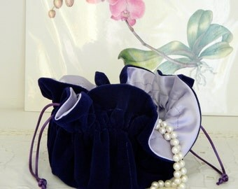 Purple Velvet Jewelry Pouch for Travel or Home Use