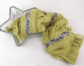 Crochet Loop Scarf, Summer Crochet Cowl in Chartreuse Yellow with Purple Flowers - Item 1330