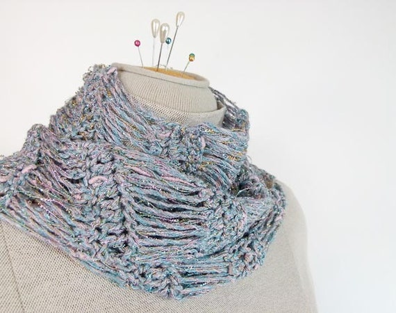 Flirty Crocheted Scarf in Sparkly Pink and Blue - Item 1105