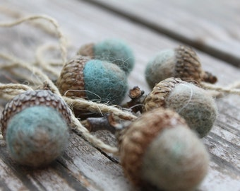 Set of 6 Marbled Needle Felted Acorn Ornaments Sage Green, Blue, Beige