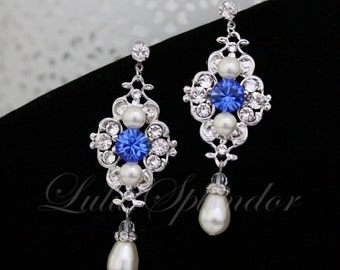 Sapphire Blue Bridal Earrings White Ivory pearl Wedding Earrings Swarovski Pearl crystals Vintage style Wedding Jewelry LEILA