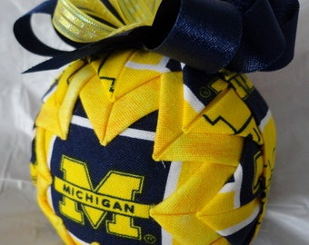 University of Michigan Inspired Quilted Ball Christmas Ornament
