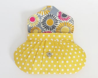 Yellow Polka Dot Purse, Bridesmaids Clutch, Pleated Little Bag, Bridal Accessory, Wedding Shower Gift, Pleated Clutch, Bright Color Purse