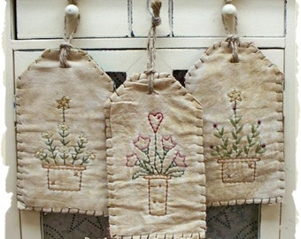 Spring Pots Tag Collection-Primitive Stitchery-E-PATTERN by Primitive Stitches-Instant Download