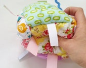 Jumble Ball Sensory Baby Block with rattle and ribbon tags - Spring Baby Girl - WoodPondDesigns