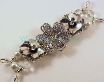 Bling It On.. Rhinestone Encrusted Silver Plated Flower and White Pearl Interchangeable Beaded Watch Band