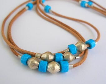 Leather Multi Strand Necklace with Blue and Silver Beads