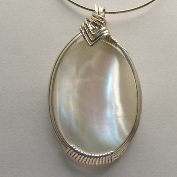 Artisan Handmade Solid Sterling Silver Wire Wrap Mother of Pearl Gemstone Pendant