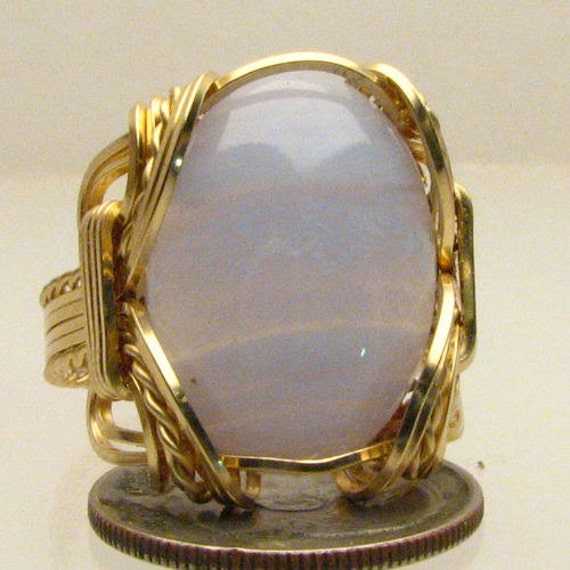 Handmade Solid 14kt Gold Wire Wrap Blue Lace Agate Cabochon Ring