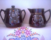 Redware Sugar Bowl  and Creamer