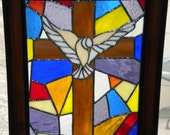 Cross with Dove Stained Glass