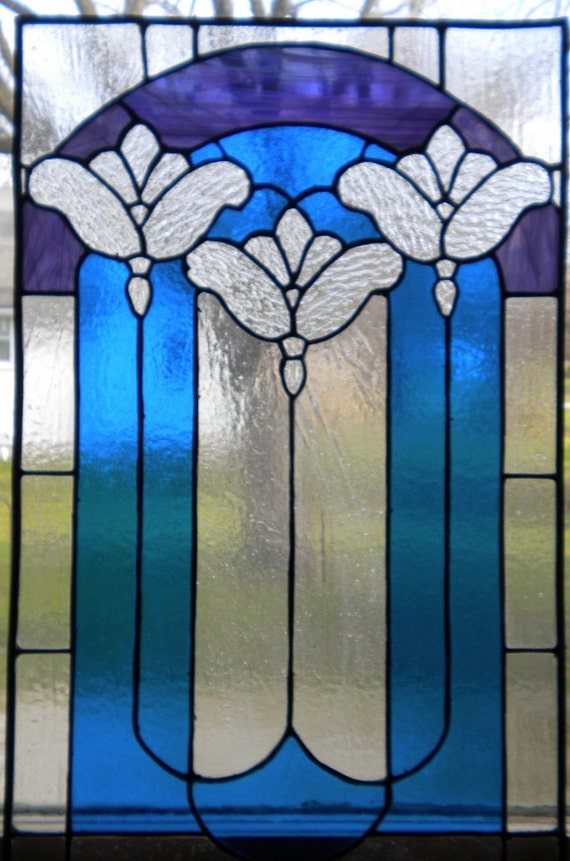 Art Noveau stained glass window panel