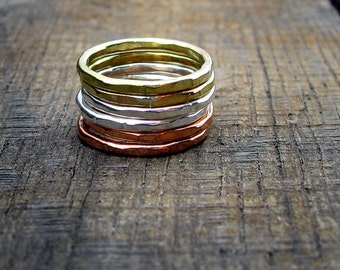 Stacking Rings - Set of Sterling, Brass, Copper