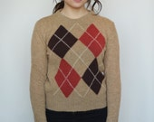 50s/60s Nerdy Argyle Sweater RESERVED FOR ANS
