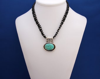 Turquoise Pendant and Black Onxy Necklace, Southwestern Jewelry, December Birthstone, 7th Anniversary, 10th Anniversary, Turquoise Necklace