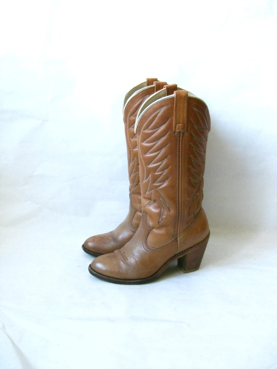 vintage 70s acme high heel cowboy boots size by