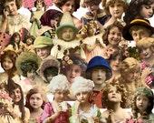 Digital Kit- No.22  -For Digital Art- Postcard Children No.4-  PNG Files 25 Different Images-Instant Download