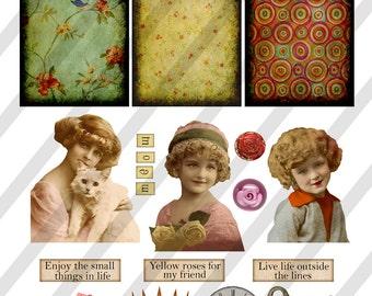 Digital Collage Sheet Vintage Girl Images Postcard Images (Sheet no. O148) instant Download