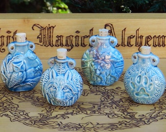 Old World Magick . SPIRIT GUIDE Raku Potion Bottles for Spell Oils, Incense, Diffuser, Ashes, Pendant . Your Choice