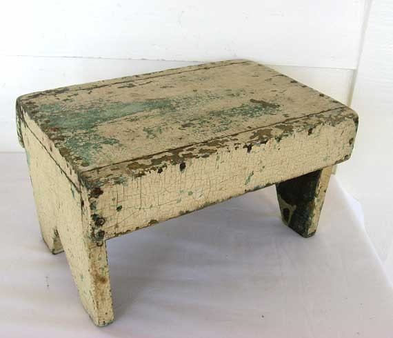 Vintage 1920 Rustic Wooden Farm Foot Stool Small Bench In Old