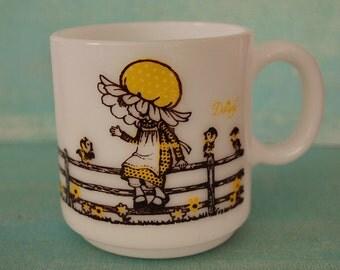 Vintage Daisy Milk Glass Mug