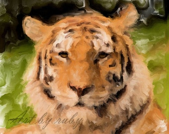 ACEO ATC - Digital Oil Painting - Tiger King - Art by ruby
