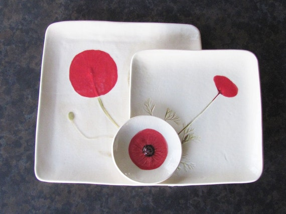 Red Poppy: handmade square platter set 3 stoneware craftsman         inspired designer