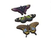 Purple Butterfly Brooch, Wood Accessory, Butterfly Badge, Illustration Jewelry, Set of Three, Animal Brooch, Wood Jewelry