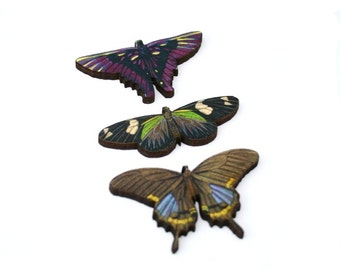 Purple Butterfly Brooch, Wood Accessory, Butterfly Badge, Illustration Jewelry, Set of Three, Animal Brooch, Wood Jewelry